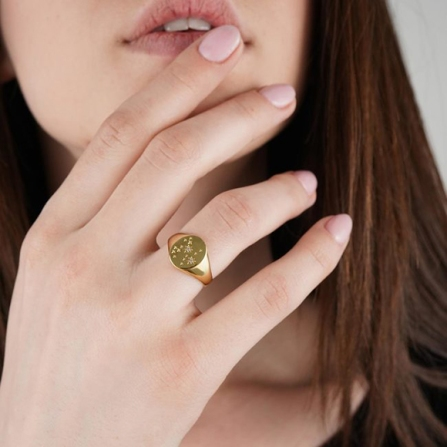 Zodia Signet ring (with matching necklaces), Mejuri, $69